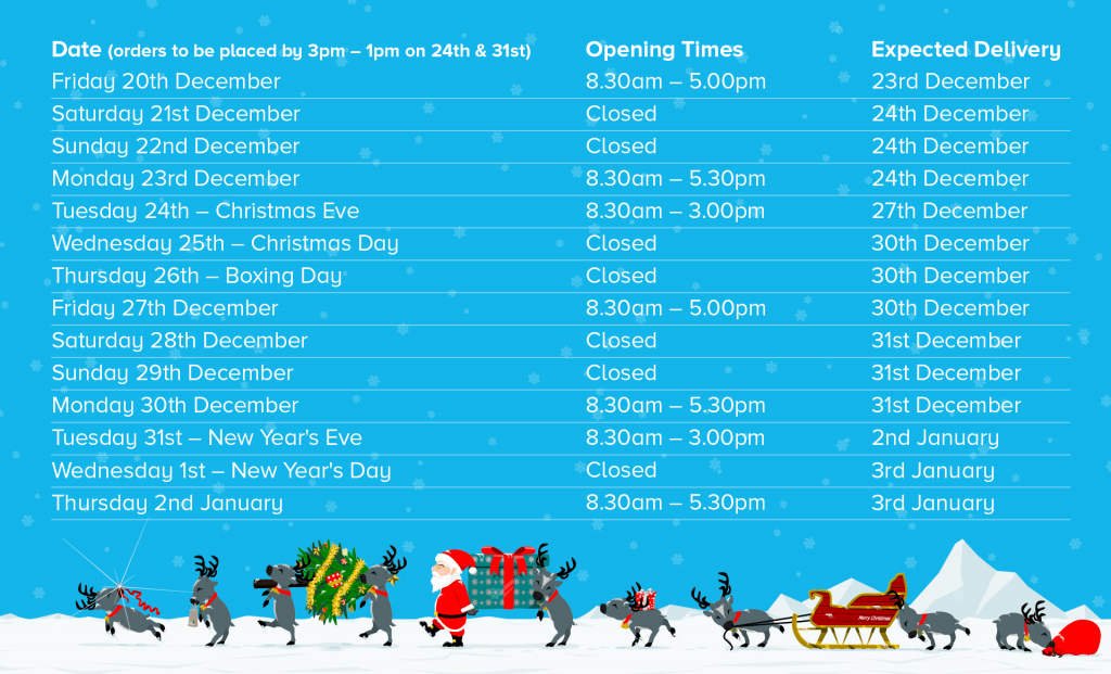 2019 Xmas Hours & FREE Delivery